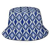 Sombrero de Pesca,Porcelana sin Costuras Azul índigo Blanco Vintage,Senderismo para Hombres y Mujeres al Aire Libre Sombrero de Cubo Sombrero para el Sol