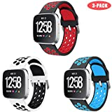 Junboer Compatible with Fitbit Versa/Fitbit Versa 2/Fitbit Versa Lite Bands for Women Men, Soft Silicone Strap Replacement Wristband for Fitbit Versa Lite SE Watch (White-Black+Black-red+Black-Blue)