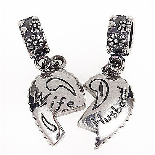 Abalorios de rompecabezas para aniversario, diseño de corazón de «Esposo y esposa», colgantes de plata de ley 925para pulsera europea de abalorios