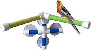 PIVBY Bird Shower Perch Portable Suction Cup Bird Window Toys with 2 Sticks Stand for Bird Parrot Macaw Cockatoo African Greys Budgies Parakeet Cockatiel Conure Lovebirds Bath Perch Toy