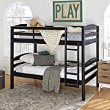 Walker Edison Furniture Company Solid Wood Twin Trundle Kids Bed Frame With Wheels, Grey