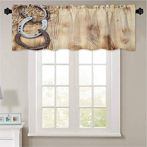 """YUAZHOQI Curtain Valances Old Horseshoe on a Wooden Board Waterproof Window Valance for Bathroom 36"""" W x 18"""" L"""