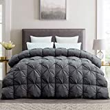 HOMBYS Luxurious Goose Down Comforter King Size Duvet Insert, Pinch Pleat Design, 65oz