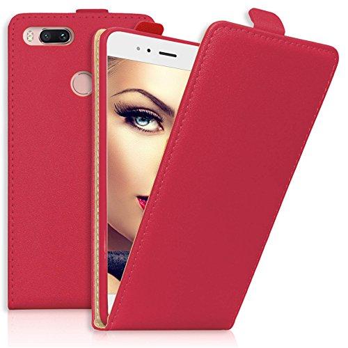 mtb more energy Custodia/Flip Case per Xiaomi Mi A1 / Mi 5X (5.5'') - Rosso - Pelle Sintetica - Chiusura Magnetica - Cover Protettiva