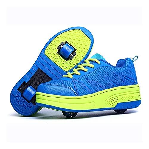 HANHJ Zapatos de skate de dos ruedas para niños y niñas, de doble rueda, para patineta, zapatillas de deporte, zapatos al aire libre, azul-39