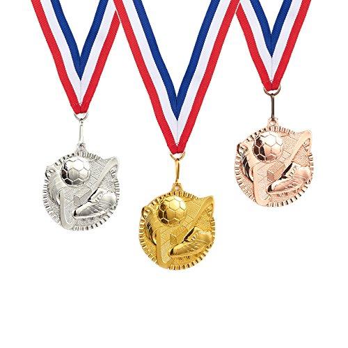 Juvale - Set di medaglie premiate in metallo, stile olimpico, in metallo, per sport, giochi, bomboniere, 5,8 cm di diametro