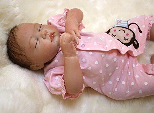ZIYIUI 20pulgadas 50cm Reborn muñecas niñas Silicona Blanda Dorm Ojos Cerrados Realista Baby Dolls Girls Bebes Nino