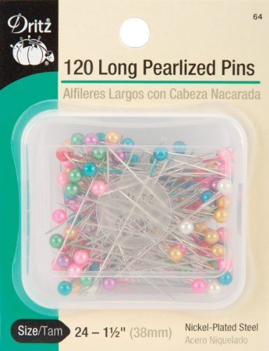Dritz 64 Pearlized Pins, Long, 1-1/2-Inch (120-Count)