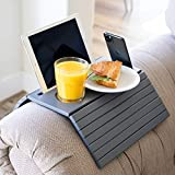 """Designer Dacor Sofa Arm Tray Table - Cup Phone and iPad Holders. Couch Arm Table for 5.5"""" Armrest and Wider. Portable Foldable Table for Armchair."""