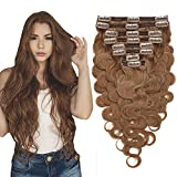 Extension Cheveux Naturel a Clip Ondulé - Remy Human Hair Double Weft 8 Pcs Extensions (#06 Châtain clair, 45 cm (140 g))