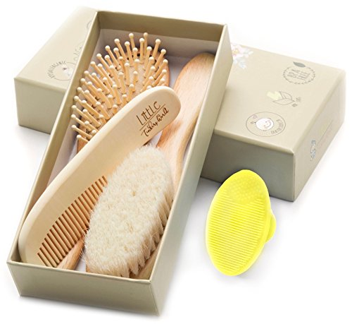 Wooden Baby Hair Brush and Comb Set (4-Piece) for Newborns and...