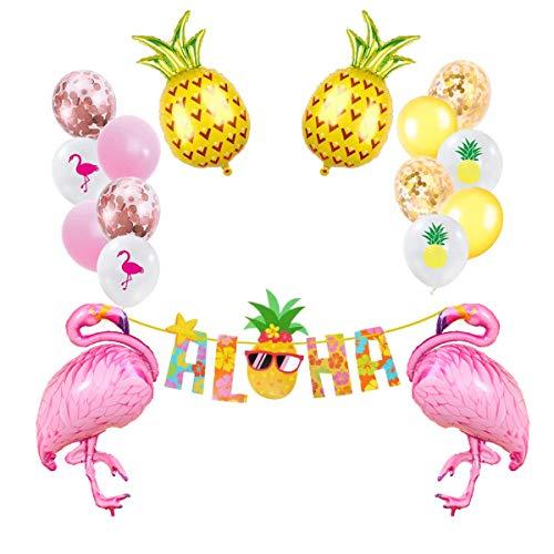 caicainiu Hawaii Luau Fiesta decoración, Flamingo y piña Globos Aloha Banner para Fiesta de Playa, Boda, Verano Tema cumpleaños decoración