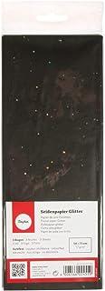 Rayher 67271576 Seidenpapier Glitter, schwarz, 50x75cm, 3 Bogen, 17g/m², lichtecht, farbfest, leicht transparentes, dünnes Papier, Geschenkpapier, Papier zum Basteln