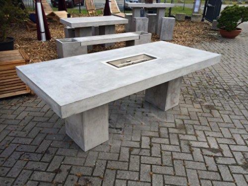 Beton Feuertisch 200x90 cm Gasgrill aus Edelstahl, div. Größen verfügbar