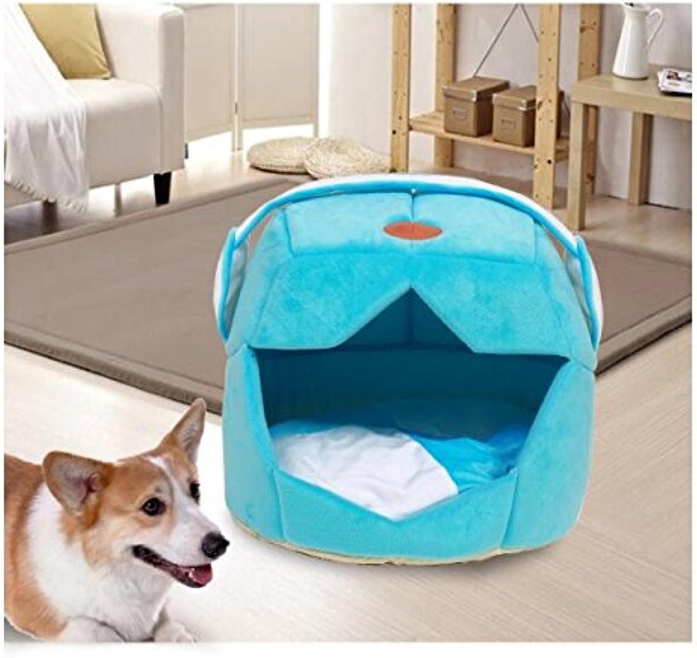 Pet Sofa Summer Kennel Cat Nest Creative Space Cap Pet Nest Dog Mat bluee Andosange