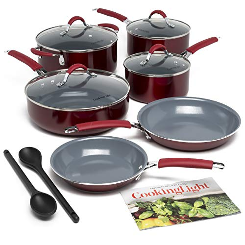 Cooking Light Allure Non-Stick Ceramic Cookware Multipurpose Use, Silicone Stay Cool Handle, Easy Clean, 12 Piece Set, Red