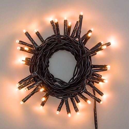 LuminalPark Lichterkette 2,8 m, 40 Mini LEDs extra warmweiß, grünes Kabel, 4,5V-Trafo, Innen und Außen