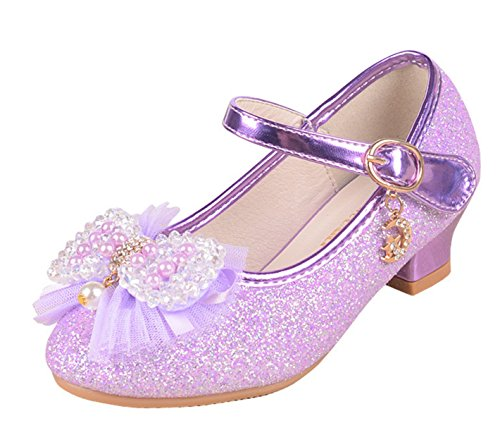 YOGLY Zapatos de Princesa con Tacones Altos para Niñas Chicas de Baile Latino Zapatos Flor