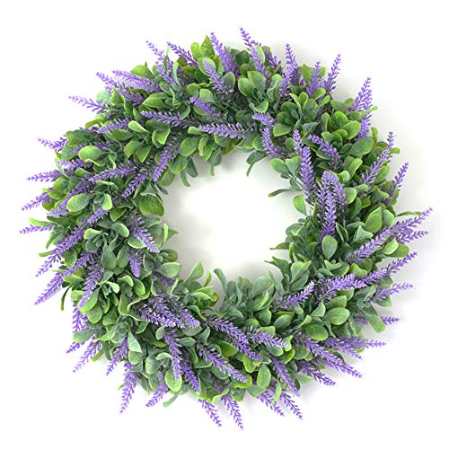 yxsian69g Artificial Flower, 46cm Artificial Flower Leaf Wreath Garland Holiday Party Door Hanging Ring Decor Green Purple