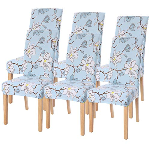 Dining Room Chair Covers Slipcovers Set of 6, SearchI Spandex Fabric Fit Stretch Removable Washable Short Parsons Kitchen Flower Chair Covers Protector for Dining Room, Hotel (Light Blue, 6 per Set)