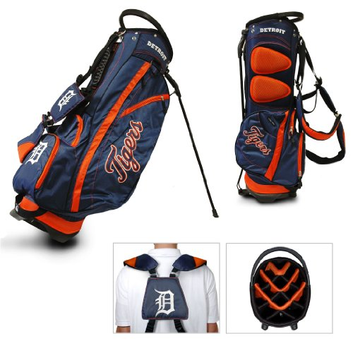 Team Golf MLB Detroit Tigers Fairway Golf Stand Bag, Lightweight, 14-way Top, Spring Action Stand, Insulated Cooler Pocket, Padded Strap, Umbrella Holder & Removable Rain Hood
