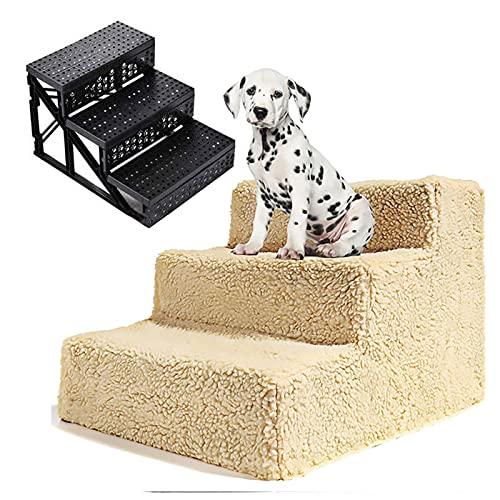 TOOARG Escaleras para Mascotas,Escalera Perros,escalones para Perros,Antideslizante,Desmontable,Lavable,para Mascotas Gatos y Perros Escaleras Rampa,Beige