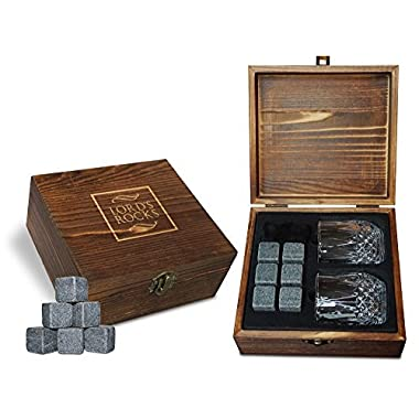 Whiskey Stones Gift Set - Cold Stones For Drinks – 6 Natural Granite Whisky Rocks To Chill Your Beverages + 2 Crystal Whiskey Shot Glasses in Wooden Box - Best Bar Accessories By Lord's Rocks