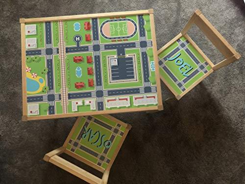 MakeThisMine Ikea LATT - Mesa infantil personalizable y 4 sillas con nombre de madera grabado, diseño de ciudad, carretera, tren, coche, ciudad, país, escritorio, unisex, para niños, niñas, amigos