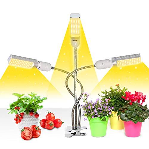 Mejora la luz de crecimiento con temporizador de encendido/apagado automático 3/6/12 h, 156 LED Lámpara de crecimiento de espectro completo similar al sol, luz de planta de 3 cabezales