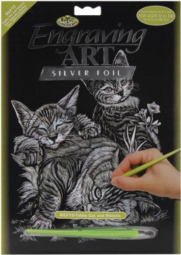 Royal & Langnickel SILF13 - Engraving Art/Kratzbilder, DIN A4, Katze und Kätzchen, silber