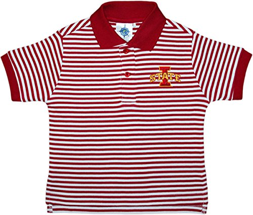Creative Knitwear Iowa State University Cyclones Striped Polo Shirt Crimson/White