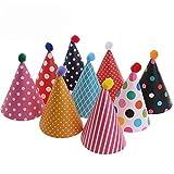 11 Stücke Partyhüte,Party Kegel Hüte mit Pom Poms,Schöne Kuchen Kegel Geburtstag Papier Hüte,...