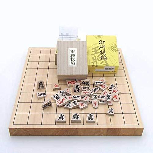 木製将棋セット 芳香と明るい色目の桧1寸卓上接合将棋盤と人気の特選将棋駒(裏赤)