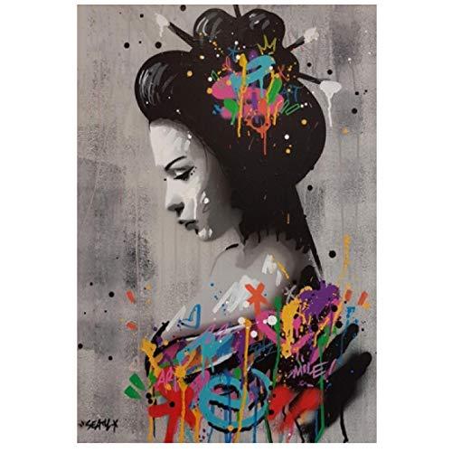 Retrato de mujer japonesa Pinturas al óleo sobre lienzo Graffiti Wall Art Posters e impresiones Cuadros de pared para decoración de sala de estar Cuadros de pintura 70x100cm Sin marco