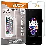 REY [Lot de 3] Verre Trempé pour ONEPLUS 5 / One Plus 5, Protecteur d'écran qualité supérieure