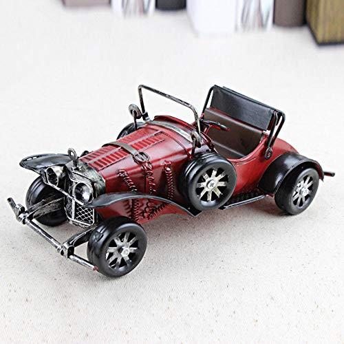 Ayhuir Vintage hecho a mano clásico modelo de coche adornos hierro artesanía vehículo figuras retro coche miniatura bar muebles niños juguetes regalos-rojo