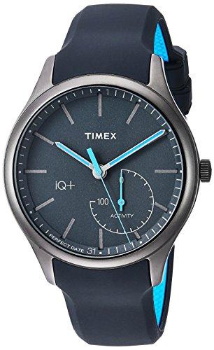 Timex Men's TW2P94900 IQ+ Move Activity Tracker Gray/Black/Blue Silicone Strap Smartwatch