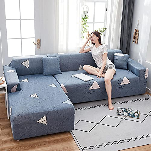 Funda elástica para sofá de 1 plaza, fundas de sofá elásticas de poliéster y elastano impresas, fundas universales para sofá, fundas antideslizantes para muebles, gris, triángulo