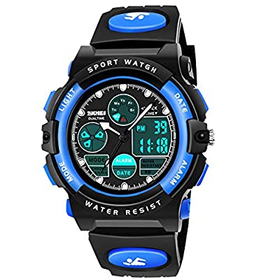 Outdoor Kids Toys Age 5-12, ATOPDREAM Kids Digital Sport LED Light Watch Waterproof Stopwatch Christmas Halloween Stocking Fillers New Gifts 2020 for Boys (Blue)