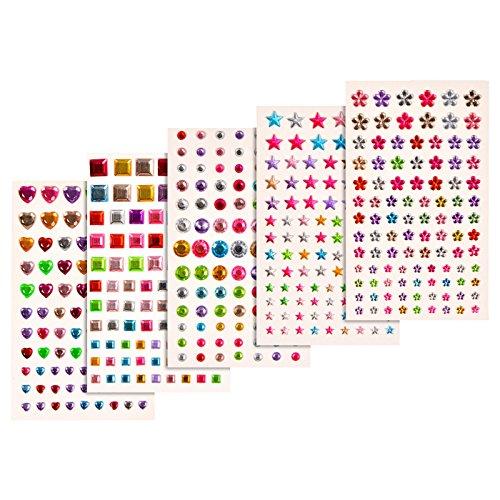 Joyshare 5 Blätter Selbstklebend Rhinestone Strasssteine Aufkleber Bling Handwerk Juwel Kristall Edelstein Aufkleber, Mehrfarbig, Sortierte Größe , 420 Stück