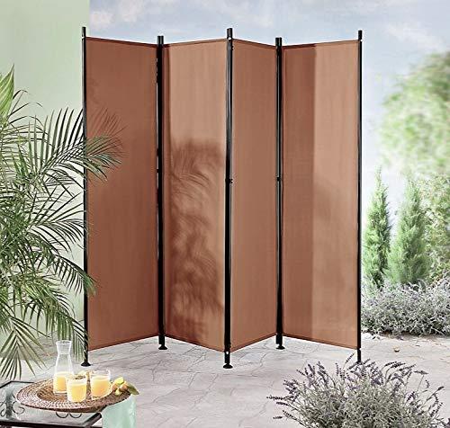 IMC Paravent 4-teilig braun Raumteiler Trennwand Sichtschutz, faltbar/flexibel verstellbar, wetterfester Polyester-Stoff, Schwarze Metallstangen