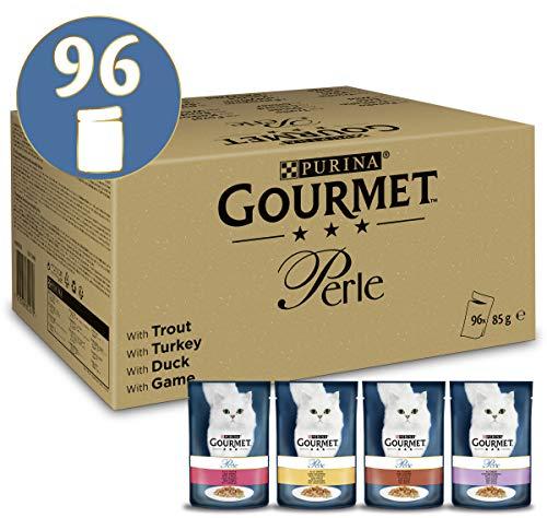 PURINA GOURMET Perle Erlesene Streifen Katzenfutter nass, Sorten-Mix, 96er Pack (96 x 85g)