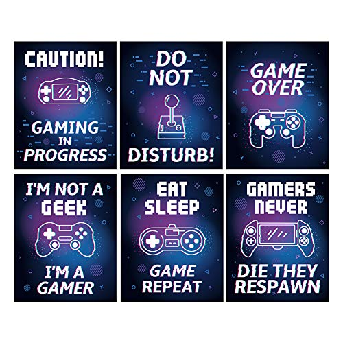 "HLNIUC Colorful Video Game Canvas Posters,Gaming Inspirational Saying Art Print,Set of 6(8""X10"",Unframed),Watercolor Motivational Quote Wall Art for Kids Boy Bedroom,Playroom, Dorm Decor"