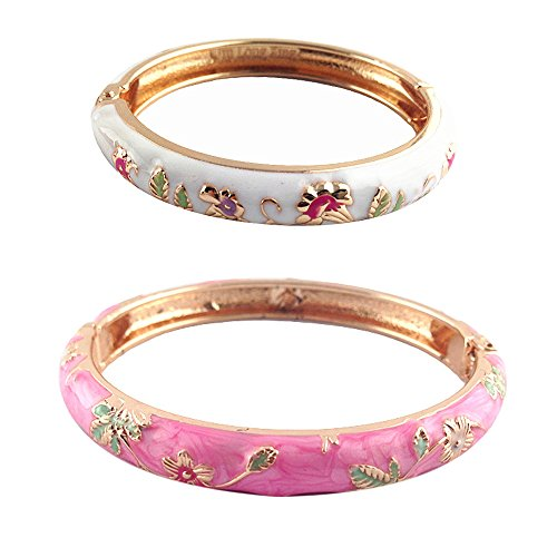 UJOY Enamel Flower Bangles Jewelry Box Golden Indian Cloisonne Bracelets Set for Girl Women 55D08-B35 White Pink