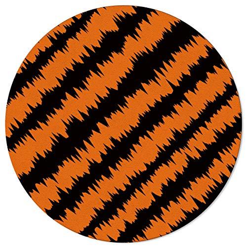 SunnyM - Alfombra Redonda para Halloween, diseño de Gato, Color Naranja y Negro, Halloween-019s6046, 4\'x4\'