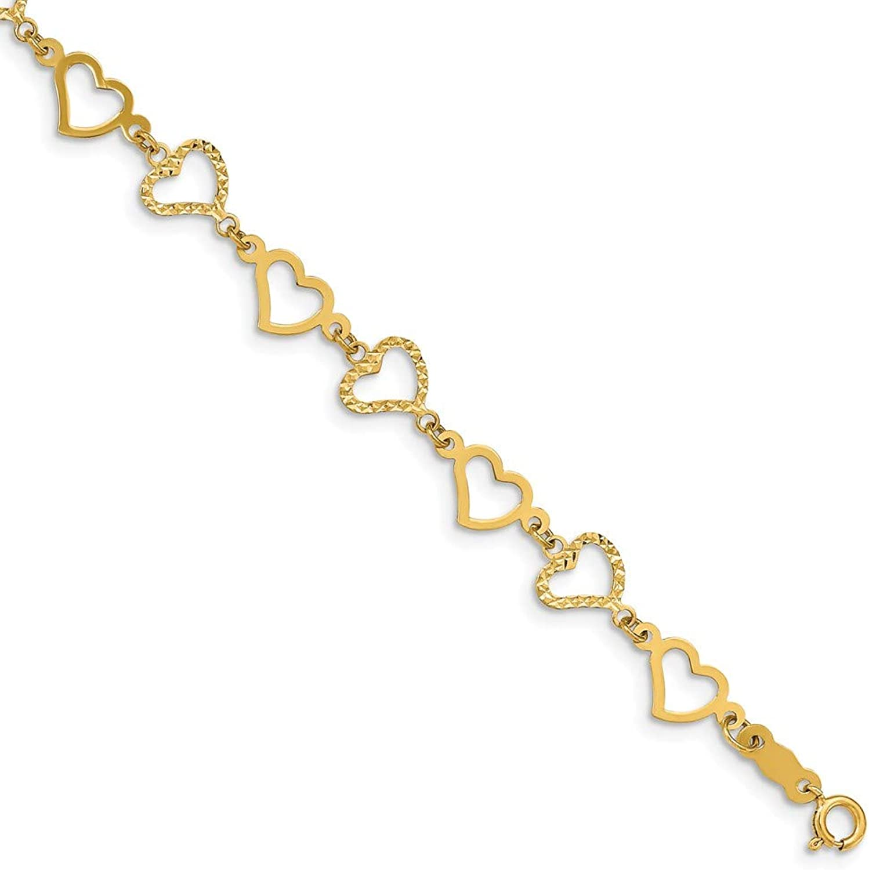 Beautiful Yellow gold 14K Yellowgold 14K Flat Diamond Cut Open Hearts Bracelet