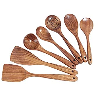Wooden Cooking Utensils Set Wooden Spatula and Wooden Spoons Wooden Kitchen Utensils Set for Nonstick Cookware  Set of 7