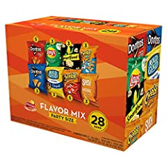Variety pack of your favorite Frito-Lay chips and snacks in one convenient package Individually packaged, perfect for packing lunches Easy to carry, easy to store, and easy to pack Our snacks have a shelf life of 60-90 days so most of our packages on...