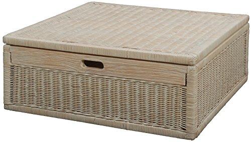 Großer Unterbett Schub aus Rattan 64x58x24cm / Unterbettkommode mit Deckel, Bett Kasten Korb Kleider Aufbewahrung Box (Vintage Weiss)