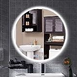 B&G Espejo de baño LED, Almohadilla de calefacción de la demister, Espejo de tocador de Pared, Utilizado en el baño, Oficina, vestidor,Blanco,50cm
